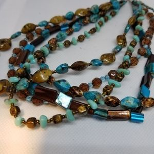 Turquoise,blue,brown,amber colors necklace